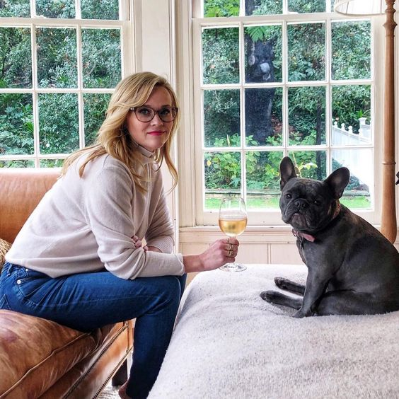 Celebrities with French Bulldogs Reese Witherspoon