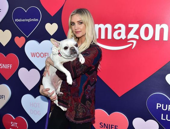 Celebrities with French Bulldogs Ashlee Simpson Ross