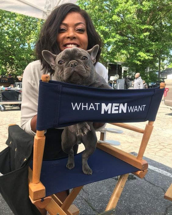 Celebrities with French Bulldogs Taraji P. Henson