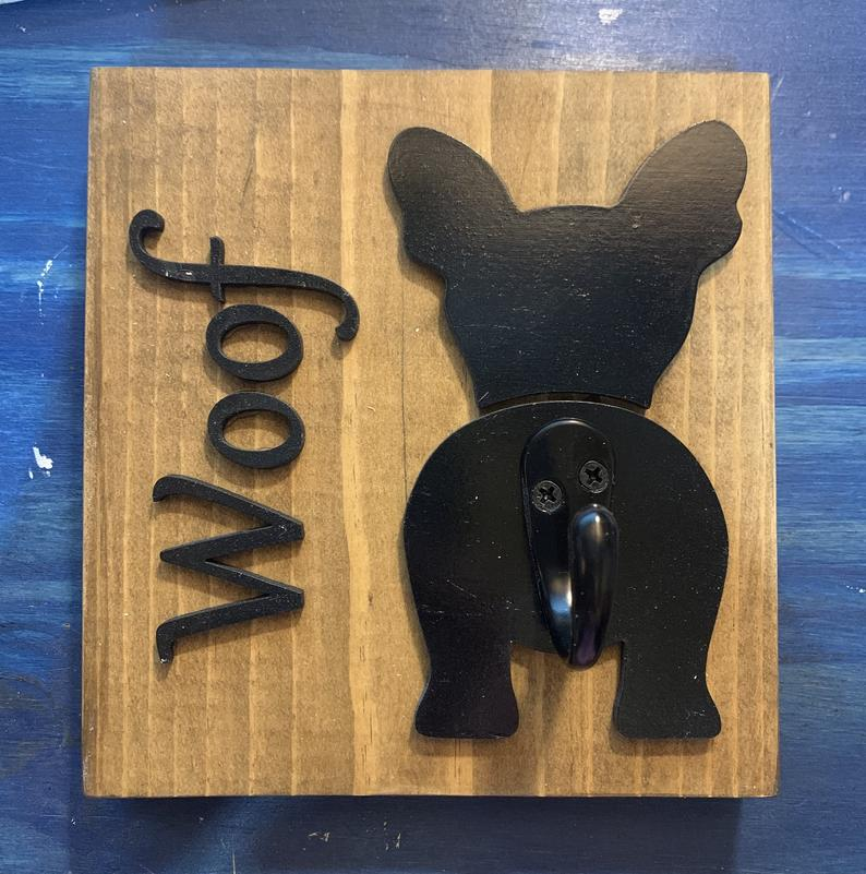 Dog-Leash-Sign-With-Hook-Can-Be-Personalized-French-Bulldog-Leash-Holder