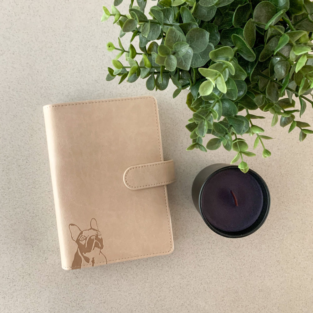 French Bulldog-Planner-PU-Leather-Exterior-Metal-Loose-Leaf-Ring-Binder-100gsm-Paper-(Two Colours)